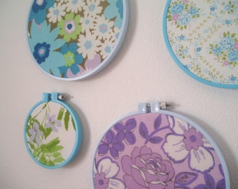 Vintage Upcycled Fabric Wall Art- Embroidery Hoop Frame- Set of  Four- Purple, Lavender, Aqua Blue, Lime Green , Grass Green
