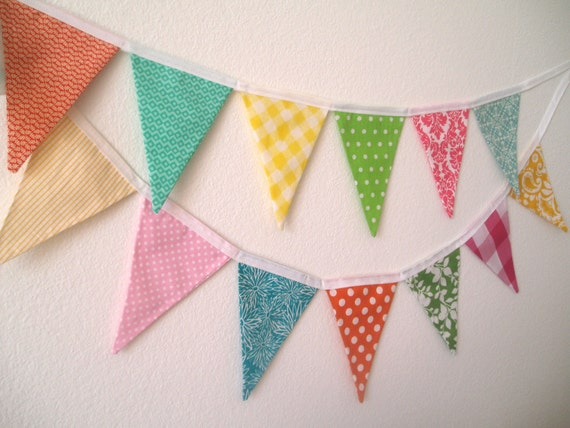 Spring Fabric Pennant Banner Garland- Easter Bunting- Easter Egg Colors