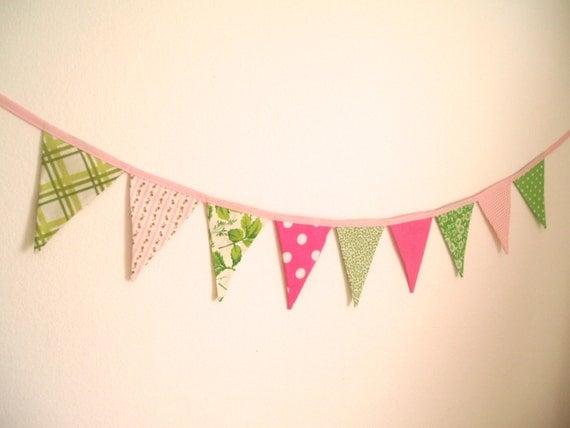 Pink and Green Bunting banner-Flag Banner-Girl's Bunting-Pink, Hot Pink, Lime Green,Grass Green