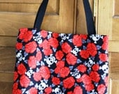 SALE Skull and Rose Tattoo Print Tote Shopping Bag