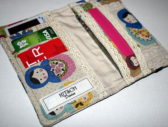 Vintage Style Colourful Russian Doll - IPhone 4 / 4S Fabric Wallet