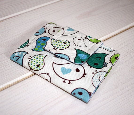 Love Birds - Fabric Business Card Holder Wallet
