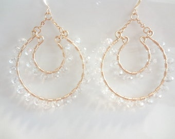 Clear Crystals, Wire Wrapped 14K Gold Filled, Large Dangle Hoop Earrings, Bridesmaids, Bridal, Weddings, Trendy, Fashion, Handmade Jewelry