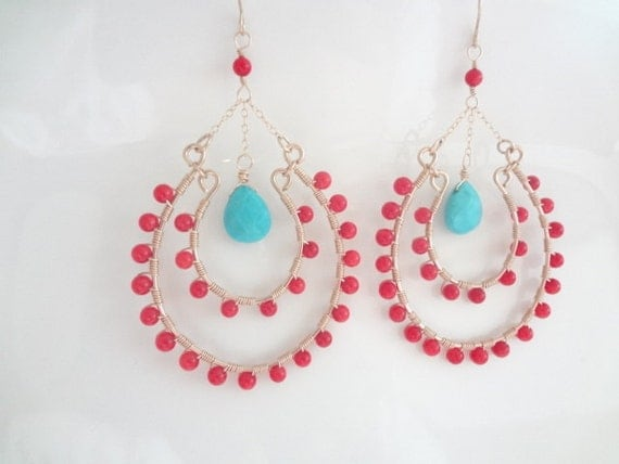 Red Coral and Turquoise Earrings, Gold Filled,  Wire Wrapped, Chandelier Earrings, Handmade Jewelry, Jewellery