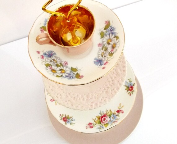 Reserved for Sal Roses 4  or four tier tiered cake stand in pink gold roses and daisies with blue flower mismatched tea cup tidbit