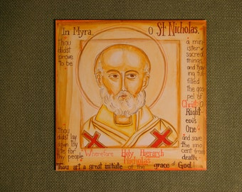 Golden head of St. Nicholas of Myra icon.  His tropar is on the border.  FREE US shipping