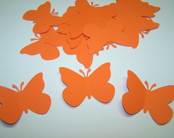50 Orange Paper Butterfly Punch Die cuts Cutouts Confetti Embellishments Scrapbooking