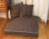 Small to Medium Brown & Teal Water/Stain Resistant Dog Bed