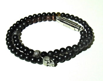 Darker Noir, Mens double wrap 6mm Onyx Bracelet. Original is SOLD But similar can be made.