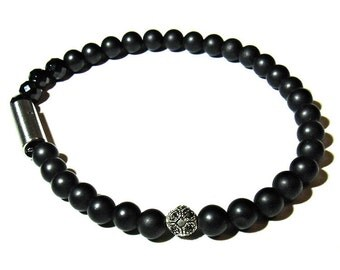 INCOGNITO BLK- Mens stretch Onyx bracelet