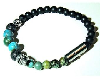 INDIANA JONES2- Mens medium stretch onyx and Turquoise bracelet.