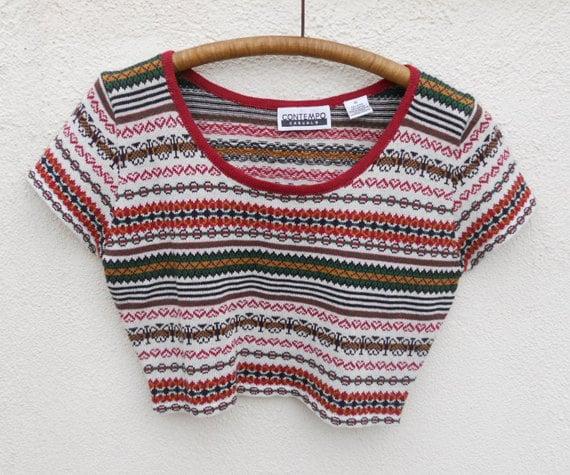 Vintage 90s Earthy Knit CROP TOP