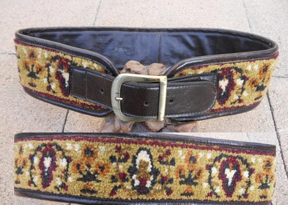 Vintage 60s Wide Boho TAPESTRY Waist Cincher Sz 29-32