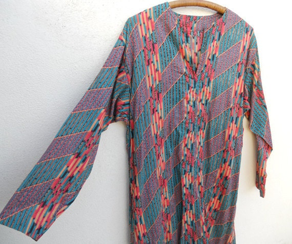 Vintage Colorful ETHNIC Cotton Tunic Dress