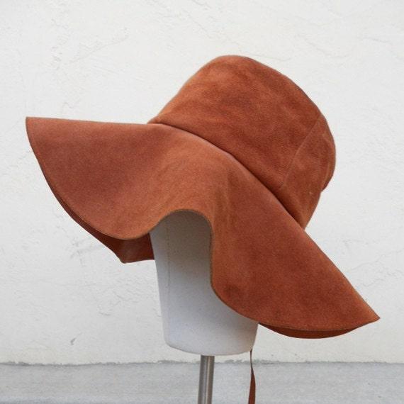 "Vintage 60s/70s Soft Leather FLOPPY Hat Sz 21.5"""