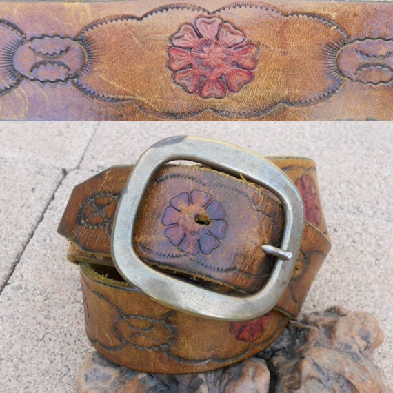 Vintage 60s RUSTIC Tooled Leather Belt Sz 35-41