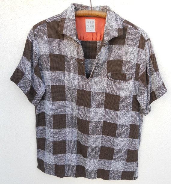 Vintage 50s/60s Sir Guy Brown Plaid LOWRIDER Shirt Sz M