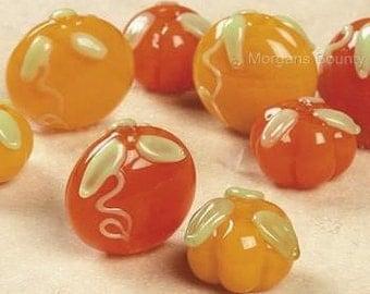 8 Handmade Lampwork Glass Pumpkin Beads Autumn Harvest Fall Jewelry Craft