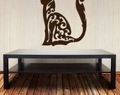 Cat Wall Decal - Swirl Design - Vinyl Sticker