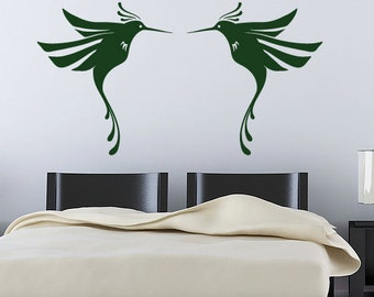 Humming Birds Wall Decal - Vinyl Sticker - 2 Pack