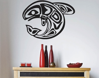 "Native American Fish Wall Decal -  Vinyl Sticker- (23"")"