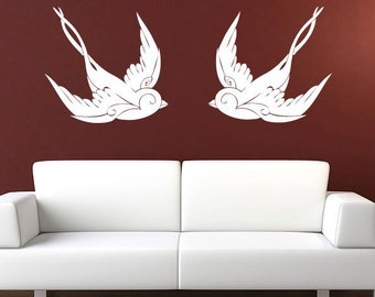 Vintage Sparrow Wall Decal - Tattoo Vinyl Sticker - 2 Pack
