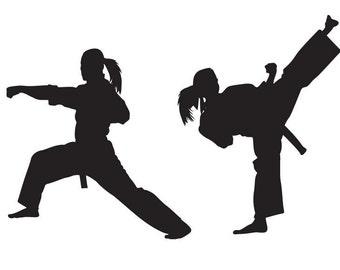 Karate Wall Decal - GIRL VERSION - Sticker , Kung Fu - Martial Arts