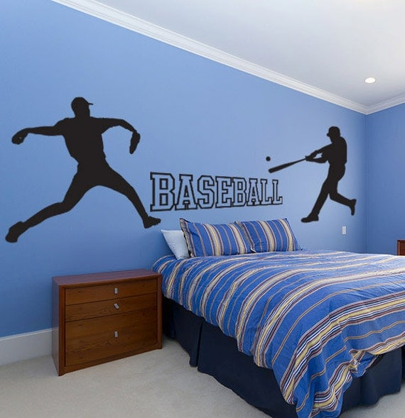 Baseball wall decal set sticker kids room sports school for Sports decals for kids rooms