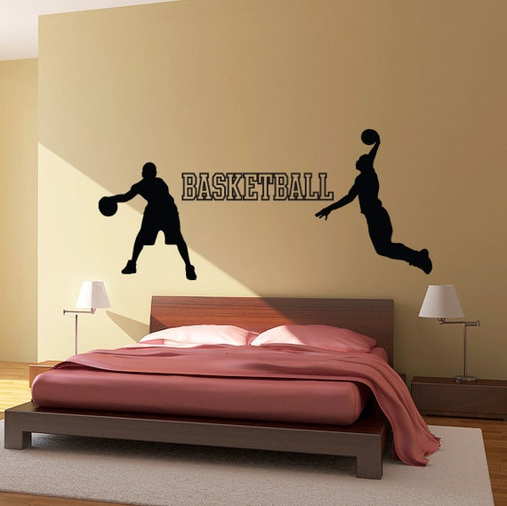 Basketball wall decal set vinyl sticker kids room sports for Basketball wall decals