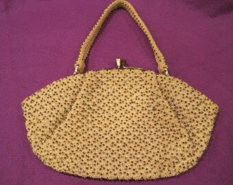 Vintage Deco 1930s 1940s Purse Crochet Beaded Sequins Handbag Evening Party Bag Wristlet