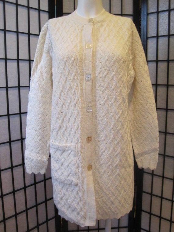 Vintage Late 1960s 1970s Sweater Cardigan Mini Dress Sidney Gould Long Knit Winter White Ivory Tunic