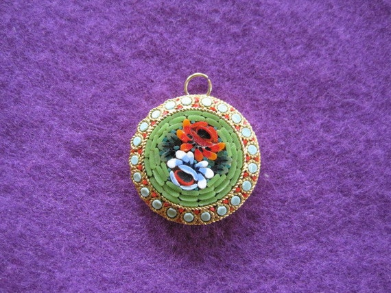 Vintage Italian Micro Mosaic Pendant Goldtone Metal Mosiacs Red Green Blue White Round Floral Drop Necklace