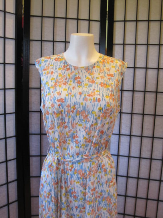 Vintage Summer Dress 1960s Sheath Nylon Shift White Yellow Blue Orange M L Medium Large Floral Print Flowers