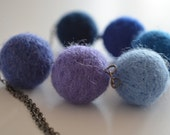 Felted Pom-pom Necklace in Blue
