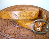 Vintage 70s Stamped Leather Handmade Wheat field Belt