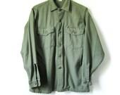 Army Green Shirt Long Sleeve Military Vietnam - Mens Medium
