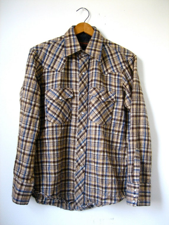 Vintage Flannel Pearl Snap Brown Plaid Shirt - Mens Medium