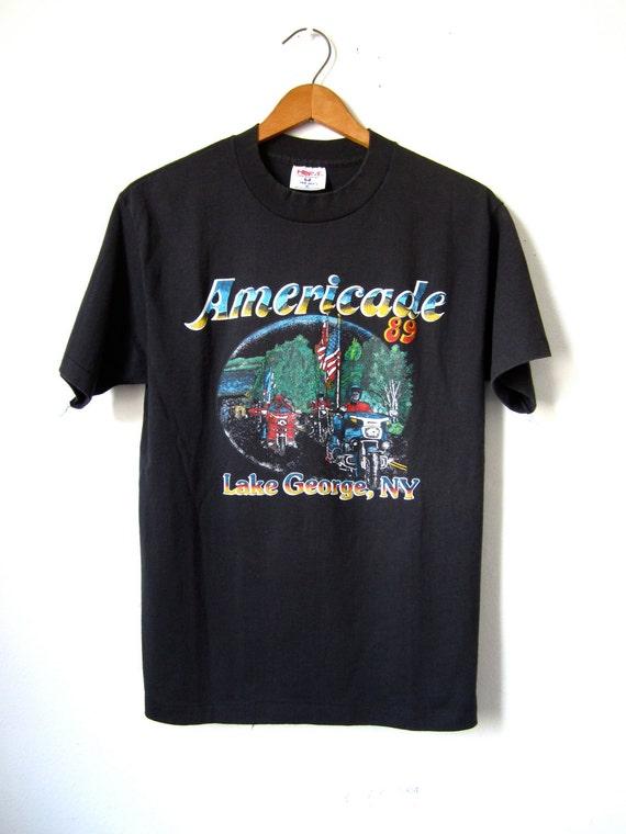 Vintage Biker Tshirt 80s Americade NY - Mens Medium / Womens Large