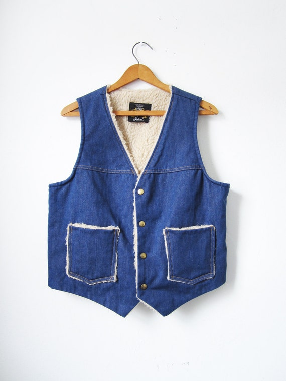 Denim Sherpa Vest - Vintage 1970s - Medium