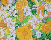 Vintage Sheet Fat Quarter - Yellow and Orange Flowers