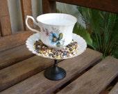 Vintage Inspired Blue Floral Teacup Birdfeeder
