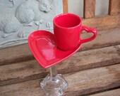 Red Heart Teacup and Saucer Pedestal Serving Set
