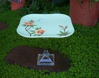 Vintage Weil Ware Pedestal - Rose/Green
