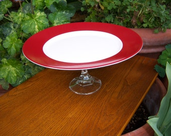 Red and White Cake Stand or Desert Pedestal