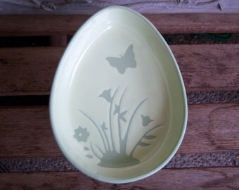 Egg Shaped Easter Candy Dish Pedestal with Butterflies