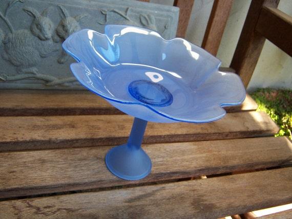Floral Inspired Blue Glass Serving Bowl Pedesal