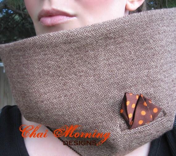 Cowl Neckwarmer Suit Scarf- Polka dot satin, brown corduroy, and wool