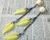 Bohemian Feather Earrings - Vintage Celluloid Beads, Yellow Feathers, Antique Brass Chain, Blue Glass Beads
