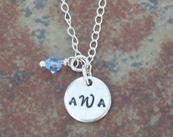 Hand Stamped Charm Jewelry Custom Sterling Silver Necklace Monogram style