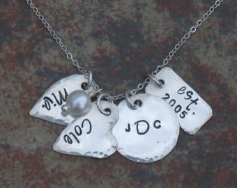 Hand Stamped Mommy Jewelry sterling silver necklace personalized
